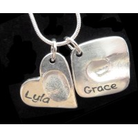 FINE SILVER Double Fingerprint Charms on Necklace