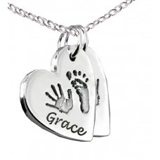 FINE SILVER Double Hand Foot Print Necklace