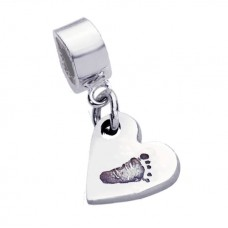 Fine Silver Footprint Charm Pandora Style fitting