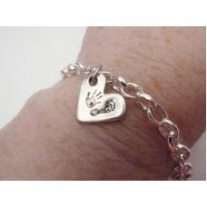FINE SILVER Hand print Footprint Charm Bracelet