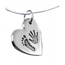FINE SILVER Hand Print Footprint Necklace