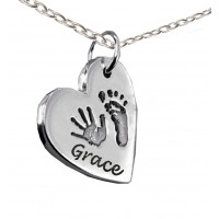 FINE SILVER Hand Print Footprint with Name Necklace
