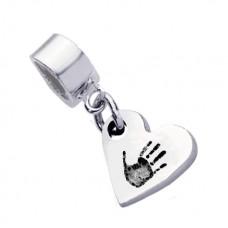 Fine Silver Hand print Charm Pandora Style fitting
