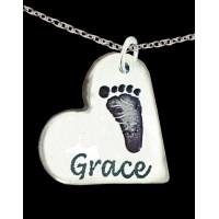 FINE SILVER Footprint Necklace