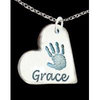FINE SILVER Hand print Necklace