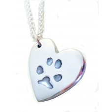 FINE SILVER Paw Print Necklace