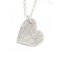A FINE SILVER Textured Fingerprint Heart Necklace
