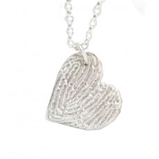 A FINE SILVER Textured Fingerprint Heart Necklace