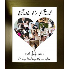 Wedding Heart Personalised Photo Collage Print