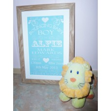 Personalised Baby Birth Print Details Solid Oak Frame