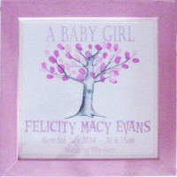 Fingerprint Tree New Baby or Christening Framed Keepsake